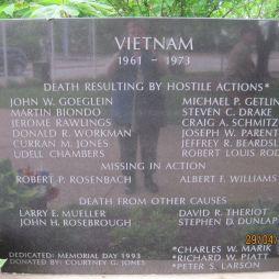 Kirkwood, MO Bevetés közben elhunyt, eltűnt, egyéb ok miatt meghalt... Ilyen emlékhely sok helyen van csak a nevek száma változó...
