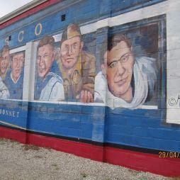 Mural Painting a Blue Bonnet Frisco nevű II. világháborús katonavonattal, Cuba