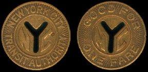 NYC Subway token 1970-től (30 cent)-1980-ig (50 cent) árban, 50 Mió db készült belőle.