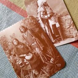 """Gayetenito navaho törzsfőnök és felesége. Jobbra fent: Az """"Ifjú férfi, akitől féltek a lovai"""" azaz Tasunka Kokipapi (1830?-1900) nagy sziú harcos."""