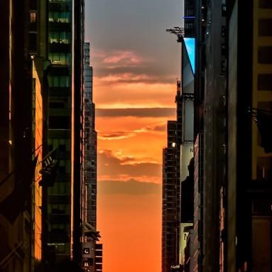 Manhattanhenge naplemente