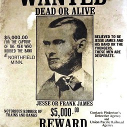 Jesse James vérdíj-plakátja. (Pinkerton's Detective Agency) https://commons.wikimedia.org/wiki/File:Wanted_Jesse_James.jpg